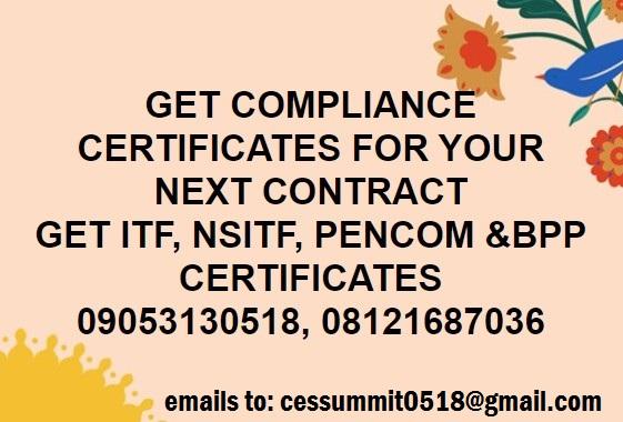 Bidding for FGN Contract: BPP Data base Certificate