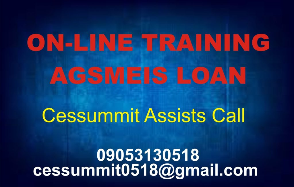 Online Training for Cottage Industry AGSMEIS Loan